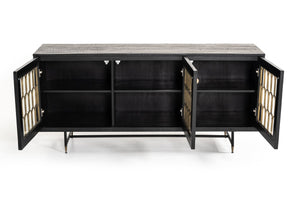 Black Dining Buffet With Shelves