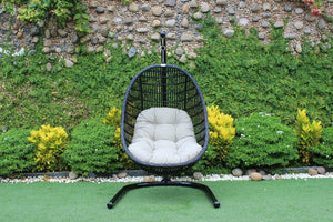 Holiman Outdoor Black & Beige Hanging Chair