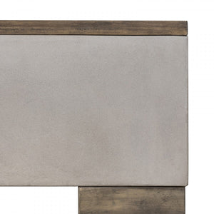 Deaser Modern Concrete & Acacia Rectangular Coffee Table