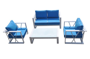 Ploto Outdoor Blue & White Sofa Set