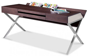 Oilin Contemporary Brown Oak & Grey Office Desk