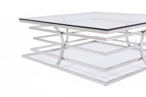 Sudumi Modern Square Glass Coffee Table