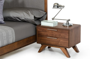 Sohu Modern Grey & Walnut Nightstand