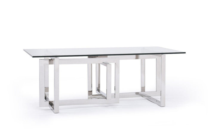Valet Modern Glass & Stainless Steel Coffee Table