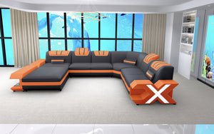 (Bundle Deal)  - Vanessa Dark Brown & Orange Modern Leather Sectional - Left Hand Facing Chaise