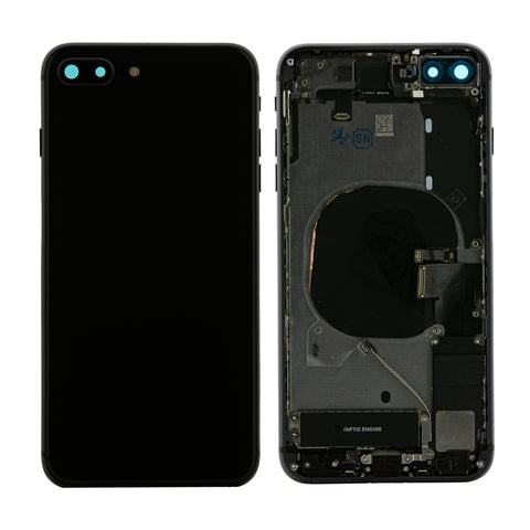 iPhone 8 Plus Space Grey (Black) Rear Back Housing Midframe Assembly W/ Pre-Installed Small Parts