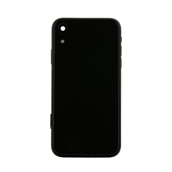 iPhone XR Black Rear Back Housing Midframe Assembly W/ Pre-Installed Small Parts