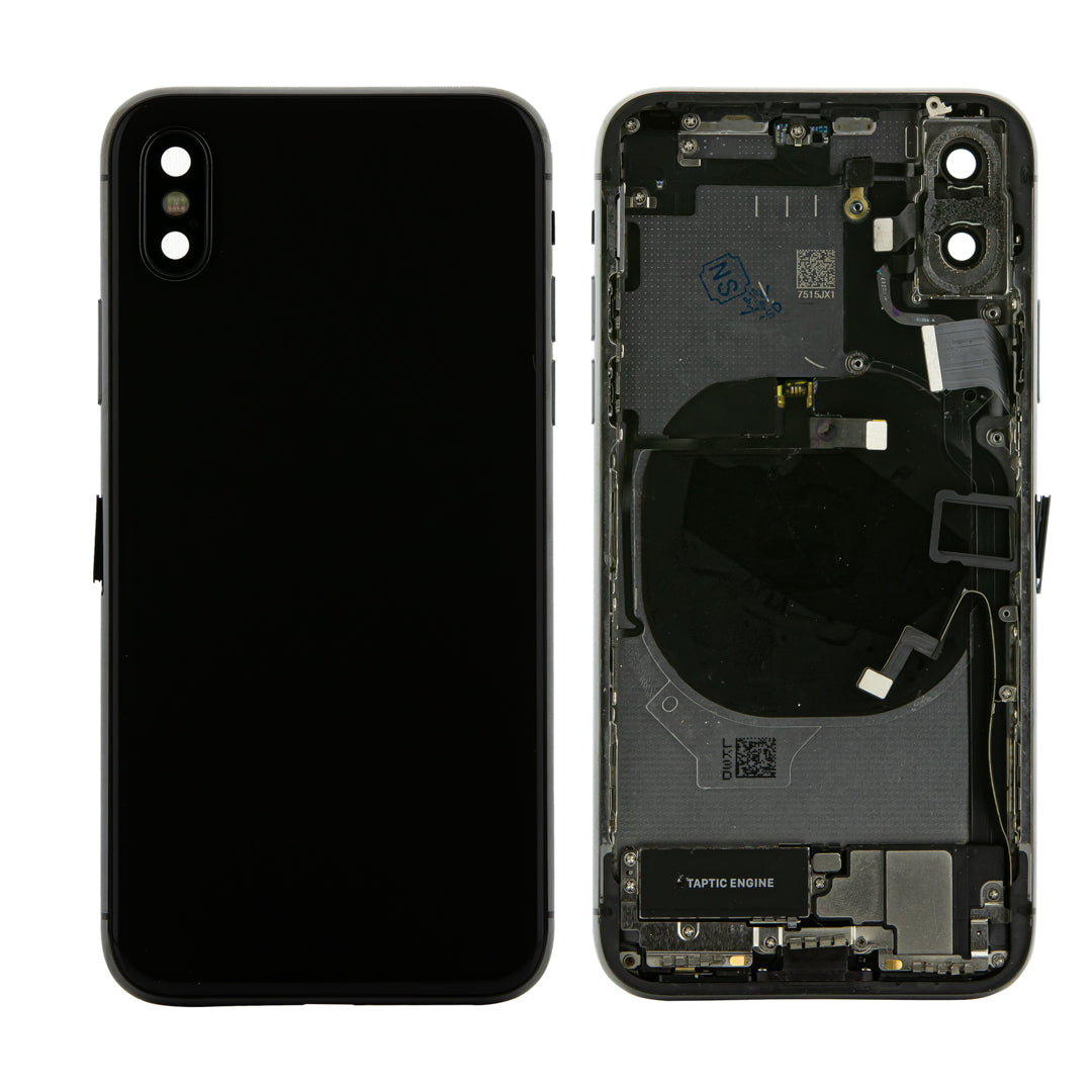 iPhone X Black Rear Back Housing Midframe Assembly W/ Pre-Installed Small Parts
