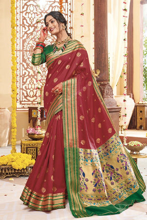 BRIGHT RED SILKY WOVEN PAITHANI SAREE