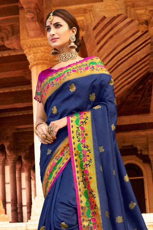 ROYAL BLUE  SILKY WOVEN PAITHANI SAREE