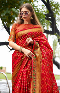 Designer Red Color Banarasi Silk Patola Saree