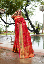 Load image into Gallery viewer, Designer Red Color Banarasi Silk Patola Saree