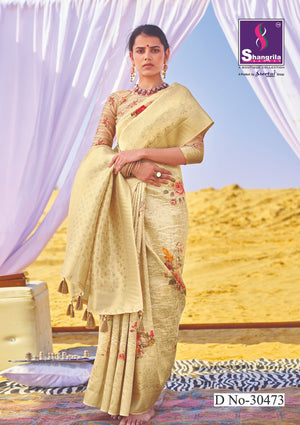 CLASSY RICH CUSTOMISED BANARASI SAREE WITH FLORAL DIGITAL PRINT