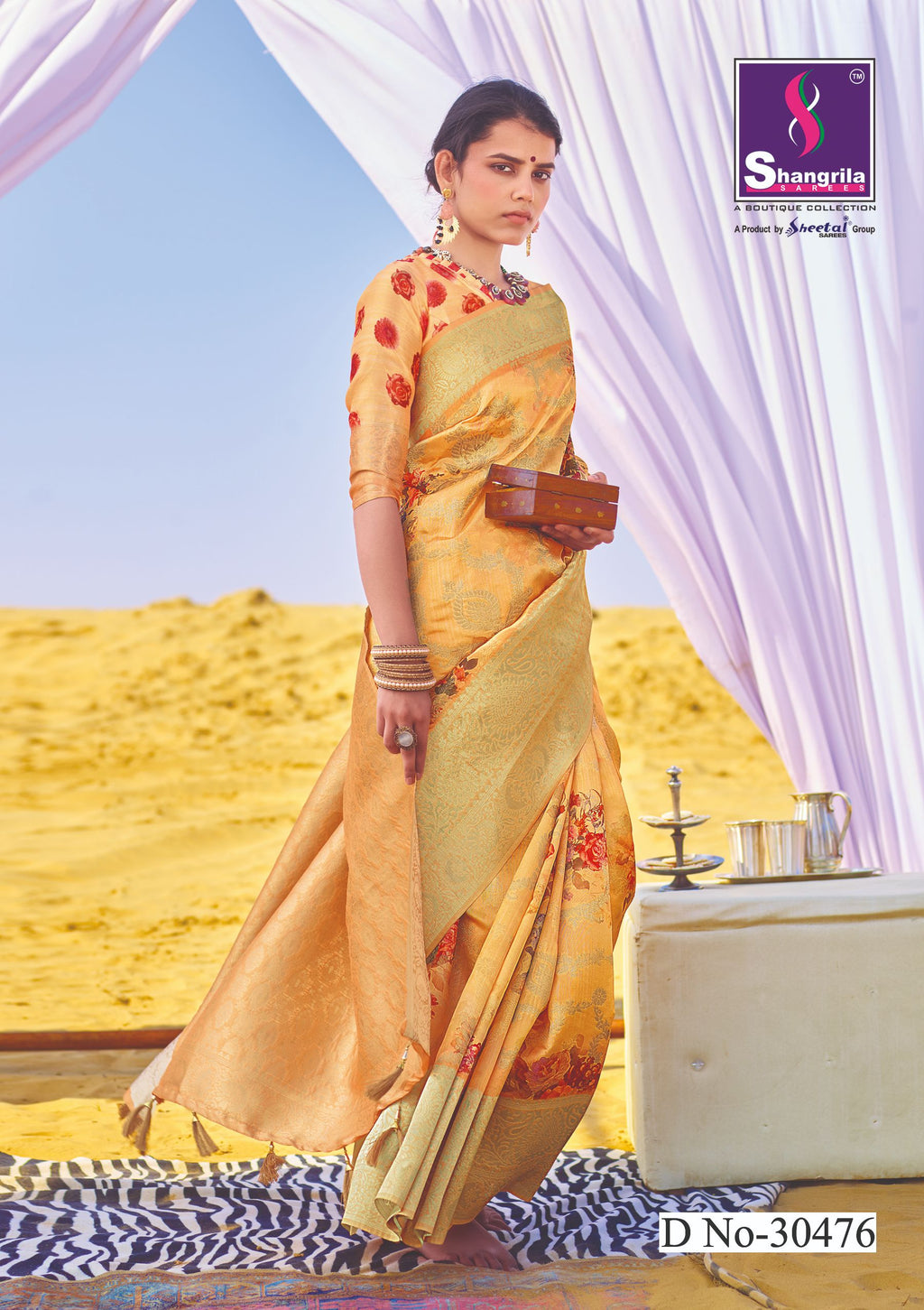 PEACH RICH CUSTOMISED BANARASI SAREE WITH FLORAL DIGITAL PRINT