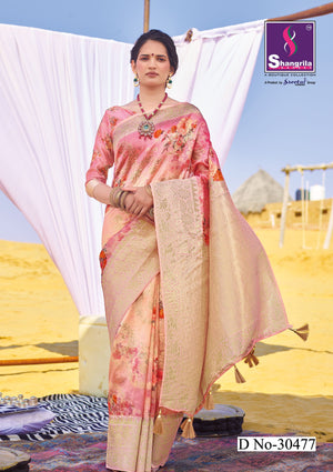 PINK RICH CUSTOMISED BANARASI SAREE WITH FLORAL DIGITAL PRINT