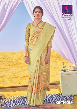 BEIDGE RICH CUSTOMISED BANARASI SAREE WITH FLORAL DIGITAL PRINT
