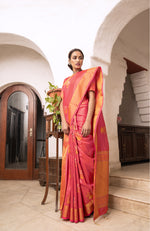 Load image into Gallery viewer, FINE PINK DUAL ZARI WOVEN KANJIVARAM FUSION SAREE