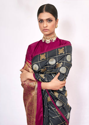 CHARCOAL GREY WOVEN KANJIVARAM FUSION SAREE