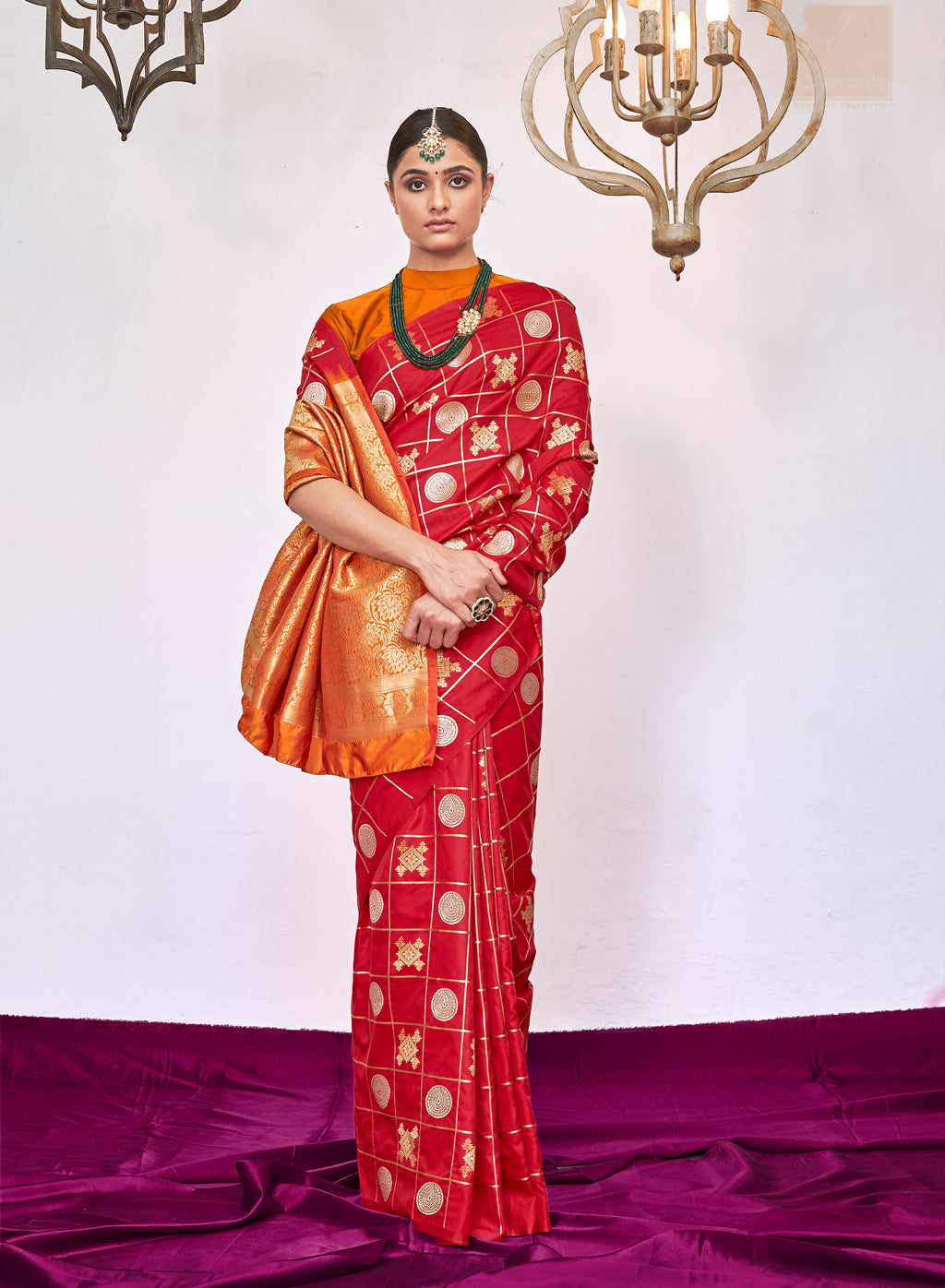 RICH RED WOVEN KANJIVARAM FUSION SAREE