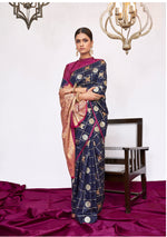 Load image into Gallery viewer, BRIGHT BLUE WOVEN KANJIVARAM FUSION SAREE