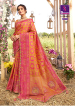 Load image into Gallery viewer, Hot pink woven south silk saree