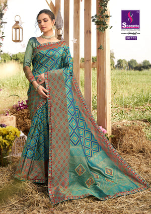 Teal blue woven south silk saree