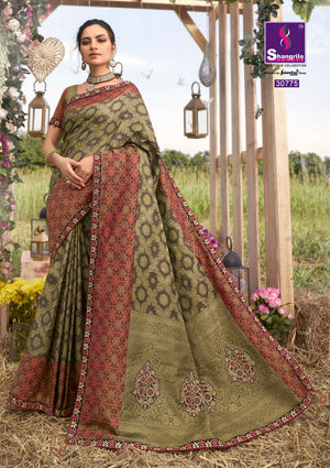 Wood brown woven south silk saree