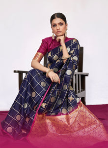 BRIGHT BLUE WOVEN KANJIVARAM FUSION SAREE