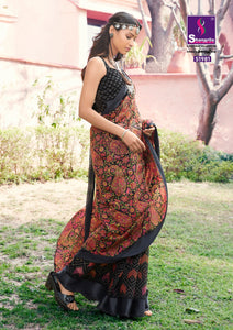 BEAUTIFUL BLACK COTTON LINEN SAREE