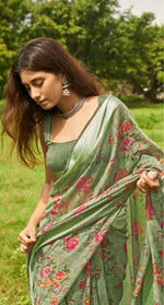Load image into Gallery viewer, Beautiful Celadon Green Linen Saree
