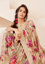 Load image into Gallery viewer, Designer Beige Georgette Floral Print Saree