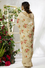 Load image into Gallery viewer, BUY KHAKI PASTEL DIGITAL FLORAL PRINTED GOTA LACED FANCY GEORGETTE SAREE