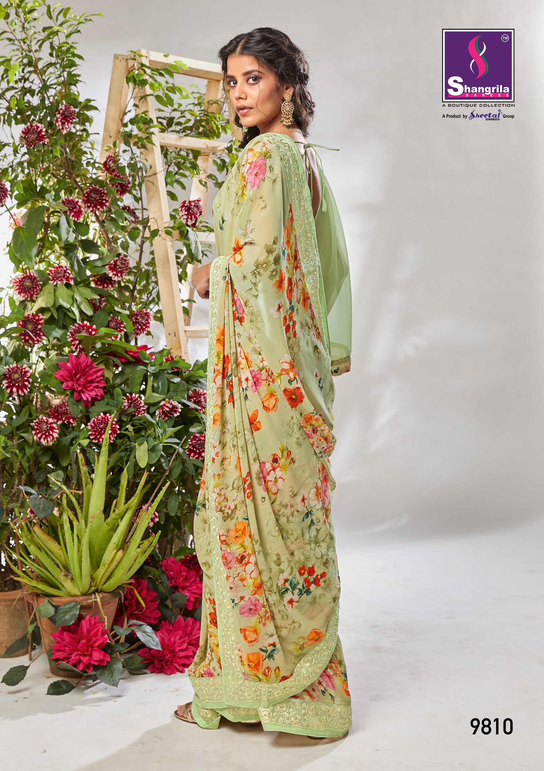 LIGHT GREEN PASTEL DIGITAL FLORAL PRINTED GOTA LACED FANCY GEORGETTE SAREE