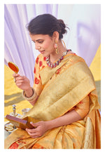 Load image into Gallery viewer, PEACH RICH CUSTOMISED BANARASI SAREE WITH FLORAL DIGITAL PRINT