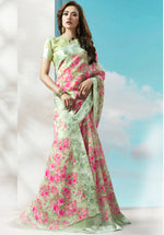 Load image into Gallery viewer, LIGHT GREEN DIGITAL FLORAL LINEN COTTON SAREE