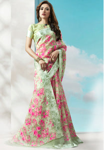 LIGHT GREEN DIGITAL FLORAL LINEN COTTON SAREE