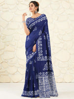 Load image into Gallery viewer, Shangrila Designer Blue Ikkat Printed Saree