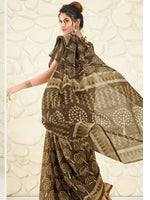 Load image into Gallery viewer, Shangrila Designer Brown Ikkat Printed Saree