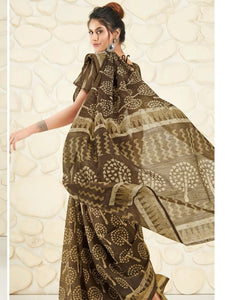 Shangrila Designer Brown Ikkat Printed Saree