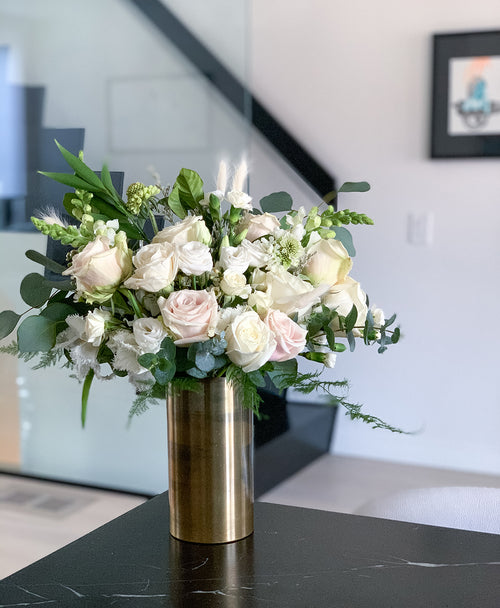 Classic white and green flower arrangement in a rustic brass vase. Send in Toronto or the GTA (Markham, Vaughan, Mississauga, Scarborough, Burlington)