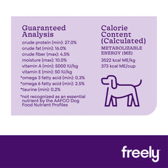 Freely Turkey Dry Dog Food Guaranteed Analysis and Calorie Content