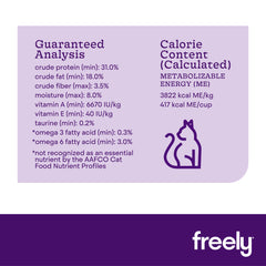 Freely Dry Cat Food With Rabbit Guaranteed Analysis Calorie Content
