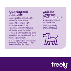 Freely Lamb Small Breed Dry Dog Food Guaranteed Analysis and Calorie Content