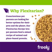 Freely Flexitarian Dry Dog Food is balanced blend of whole grain turkey kibble and vegetarian kibble