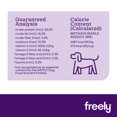 Freely Turkey Dry Dog Food Guaranteed Analysis Calorie Content