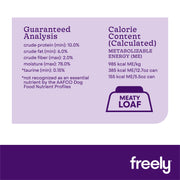Freely Lamb Wet Dog Food Guaranteed Analysis Calorie Content