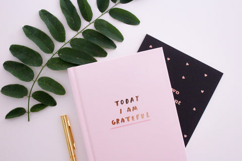 Pink gratitude journal in front of a black gratitude journal surrounded by a green leaf and gold pen for writing