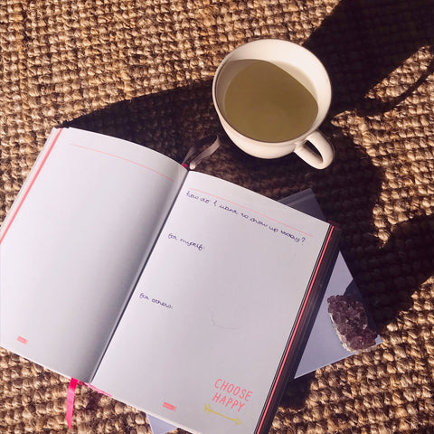 Journal and tea cup with tea on desk