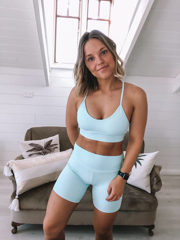 With arna in blue gym clothes
