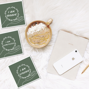 Printable affirmation cards - dark green colour